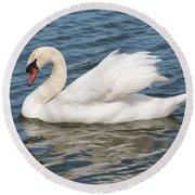 Swan On Blue Waves Round Beach Towel
