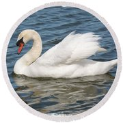 Swan On Blue Waves With Border Round Beach Towel