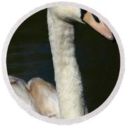 Swan Profile Round Beach Towel