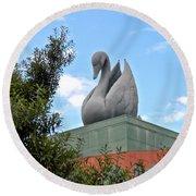 Swan Resort Statue Walt Disney World Round Beach Towel