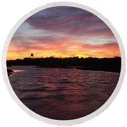Swan River Sunset Round Beach Towel