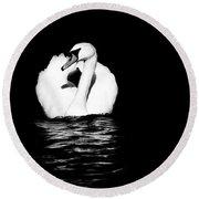 Swan White On Black Round Beach Towel