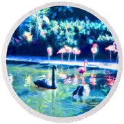 Swans And Flamingos Round Beach Towel