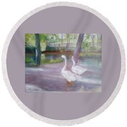 Swans At Smithville Park Round Beach Towel