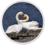 Swans Courting Round Beach Towel