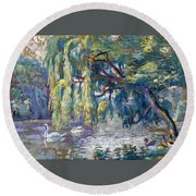 Swans Family . Forest Of Boulogne  Round Beach Towel