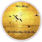 Swans Flying Over The Water Round Beach Towel