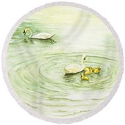 Swans In St. Pierre Round Beach Towel