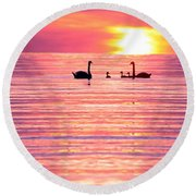 Swans On The Lake Round Beach Towel by Jon Neidert