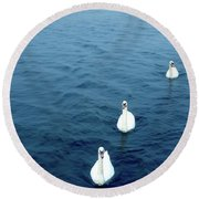 Swans On The Vltava River, Prague Round Beach Towel