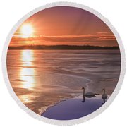 Swans Sunrise Round Beach Towel