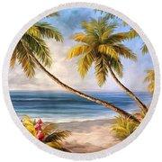 Swaying Palms Round Beach Towel