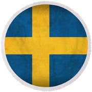 Sweden Flag Vintage Distressed Finish Round Beach Towel