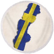 Sweden Map Art With Flag Design Round Beach Towel