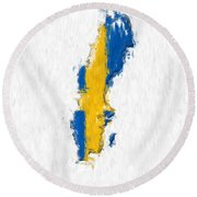 Sweden Painted Flag Map Round Beach Towel
