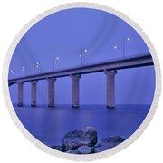 Sweden, The Bridge To The Island Round Beach Towel