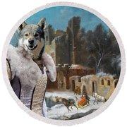 Swedish Elkhound - Jamthund Art Canvas Print  Round Beach Towel