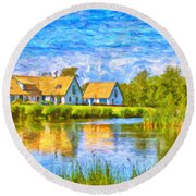 Swedish Lakehouse Round Beach Towel