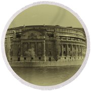 Swedish Parliament In Sepia Round Beach Towel