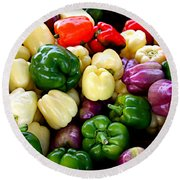 Sweet Bell Peppers Round Beach Towel