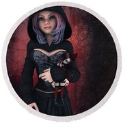 Sweet Betty With Gothic Doll Round Beach Towel
