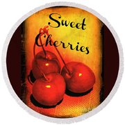 Sweet Cherries - Kitchen Art Round Beach Towel