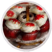 Sweet - Cupcake - Red Velvet Cupcakes  Round Beach Towel by Mike Savad