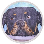 Rottweiler's Sweet Face Round Beach Towel
