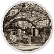 Sweet Home New Orleans 2 Sepia Round Beach Towel