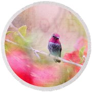 Sweet Hummingbird Love Round Beach Towel