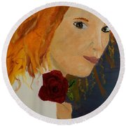 Sweet Lady Holding A Rose Round Beach Towel