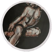 Sweet Little Mystery - Nudes Gallery Round Beach Towel