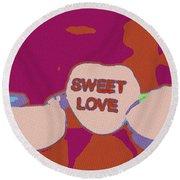 Sweet Love Candy Round Beach Towel