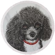 Sweet Miss Molly The Poodle Round Beach Towel