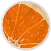 Sweet Orange Round Beach Towel
