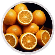 Sweet Oranges Whole And Halved Round Beach Towel