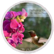 Sweet Pea Hummingbird Iv With Verse Round Beach Towel by Debbie Portwood