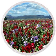 Sweet Peas Forever Round Beach Towel