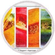 Sweet Pepper Watercolor Round Beach Towel