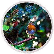 Sweet Robin Redbreast - Impressions Round Beach Towel