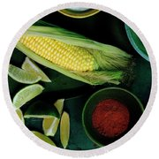 Sweetcorn And Limes Round Beach Towel
