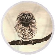 Sweetest Owl Round Beach Towel