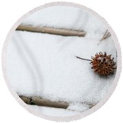 Sweetgum Seed Pod In The Snow Round Beach Towel
