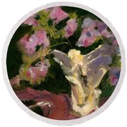 Sweetpeas And Silver Round Beach Towel