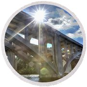 Swift Island Bridge 1 Round Beach Towel