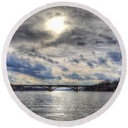 Swift Island Bridge 4 Round Beach Towel