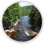 Swift River Below Rocky Gorge New Hampshire White Mountains Round Beach Towel