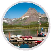 Swiftcurrent Lake Round Beach Towel