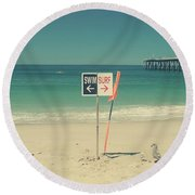Swim And Surf Round Beach Towel by Laurie Search