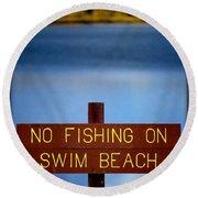 Swim Beach Sign Round Beach Towel
